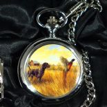 Hunting Scene Pocket Watch, Personalised Dog and Pheasant ref PWDP